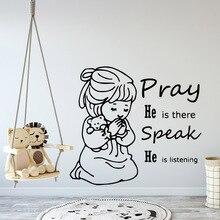 Cartoon Pray Self Adhesive Vinyl Wallpaper For Kids Room Mural Bedroom Diy Pvc Home Decoration Accessories vinilo decorativo