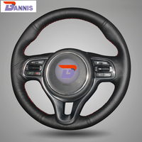 Black Artificial Leather DIY Hand Stitched Steering Wheel Cover For Kia K5 2016 Sportage 4 KX5
