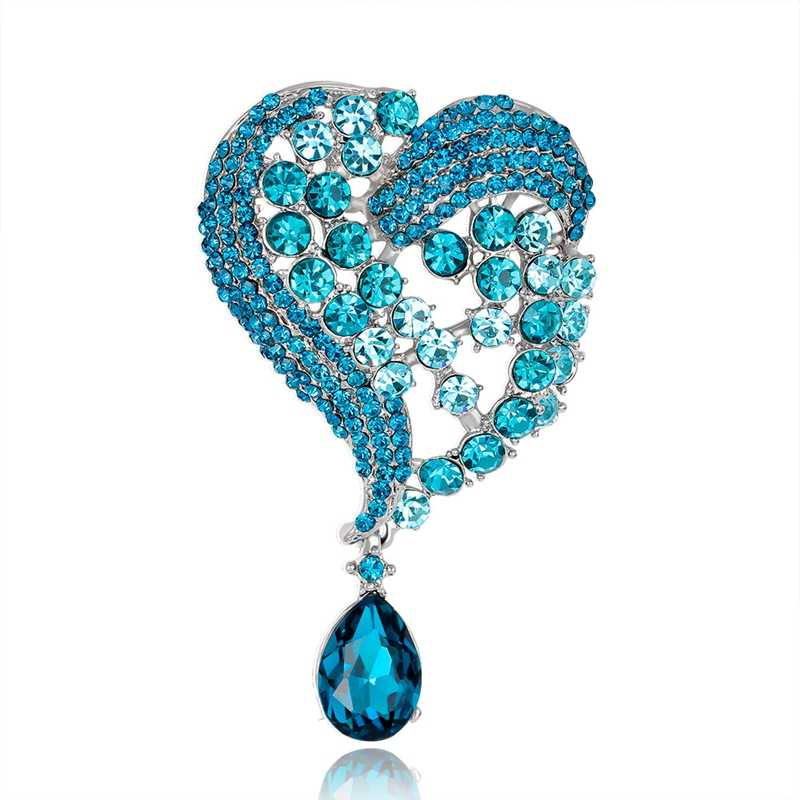 Di alta qualità del cuore di amore blu water drop spilla per le donne set sciarpa cardigan clip lucido di cristallo spilla di strass accessori