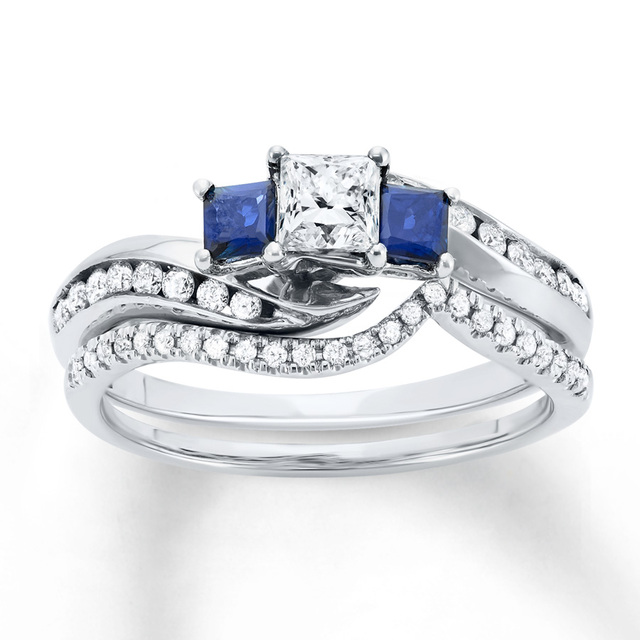 Center 05ct Simulated Diamond Simulate Blue Sappire Princess Cut Wedding Set 925 Sterling Silver Bridal