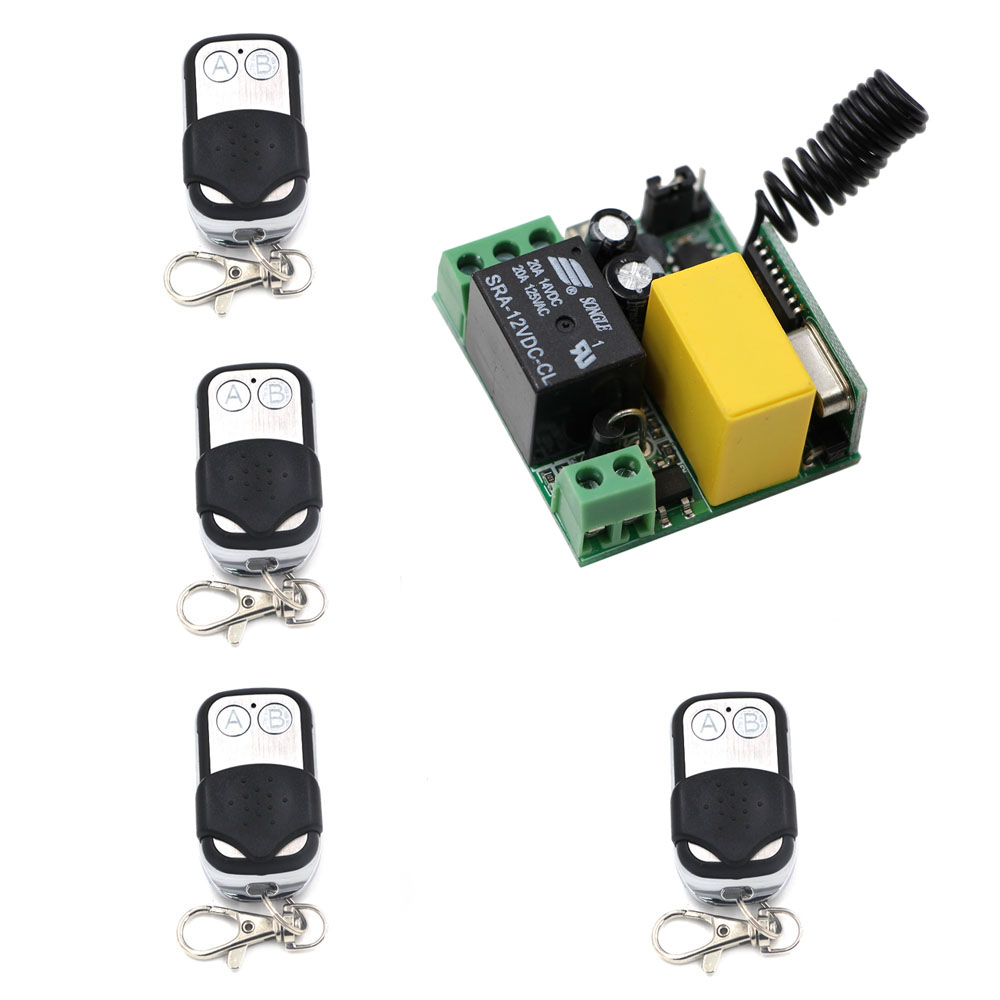 AC220V 1CH Remote Control Switches Lighting LED Lamp ON OFF Remote Controller Receiver 4Transmitter 315/433Mhz Learning Code chunghop rm l7 multifunctional learning remote control silver