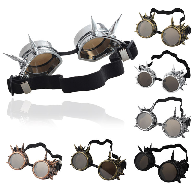 Hot Cool Men Women Welding Goggles Unisex Gothic Steampunk Cosplay Antique Spikes Vintage Victorian Glasses Eyewear Wholesale cyber goggles steampunk glasses vintage retro welding punk gothic victorian durable goggles glasses sunglasses 2016 hot sale