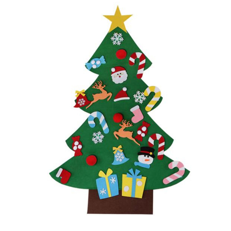 Kids DIY Felt Christmas Tree Xmas Decorations Gifts for Children  Navidad Door Wall Hanging Ornaments Puzzle Child Toy NMR0384