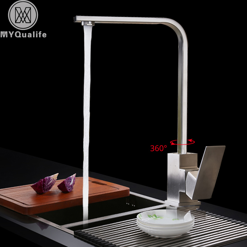 Stainless Steel Kitchen Mixer Faucet Single Handle Bathroom Kitchen Crane Tap Brushed Nickel Kitchen Sink Hot Cold Water Tap