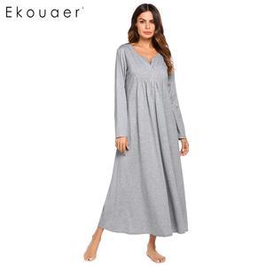 Image 1 - Ekouaer Nachthemd Frauen Nachtwäsche Nacht Kleid Oansatz Taste Vorne Lose Feste Volle Länge Reich Taille Nachthemd Weibliche Kleidung