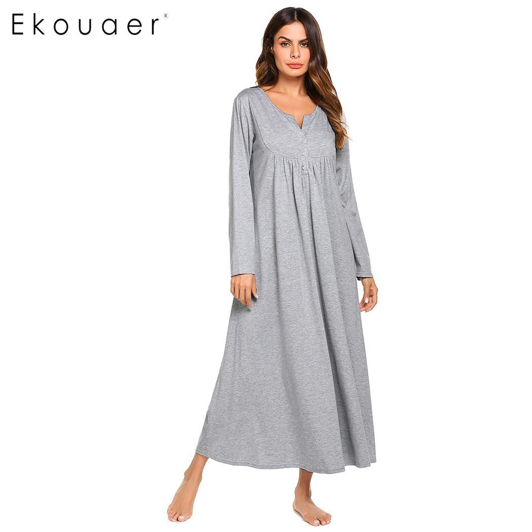 Ekouaer Nightgown Women Sleepwear Night Dress O-Neck Button Front Loose Solid Full Length Empire Waist Nightdress Female Clothes
