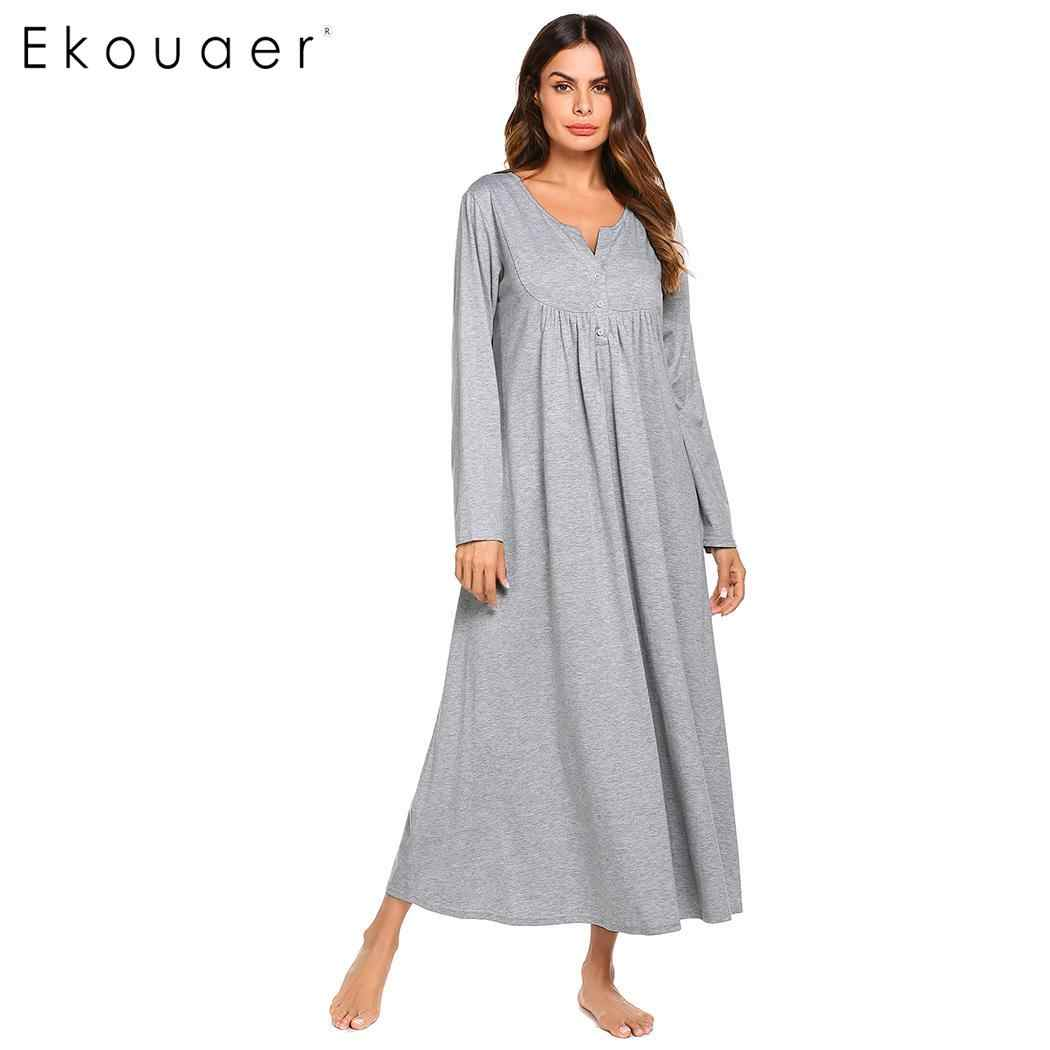 fded0a7e69 Ekouaer Nightgown Women Sleepwear Night Dress O-Neck Button Front Loose  Solid Full Length Empire