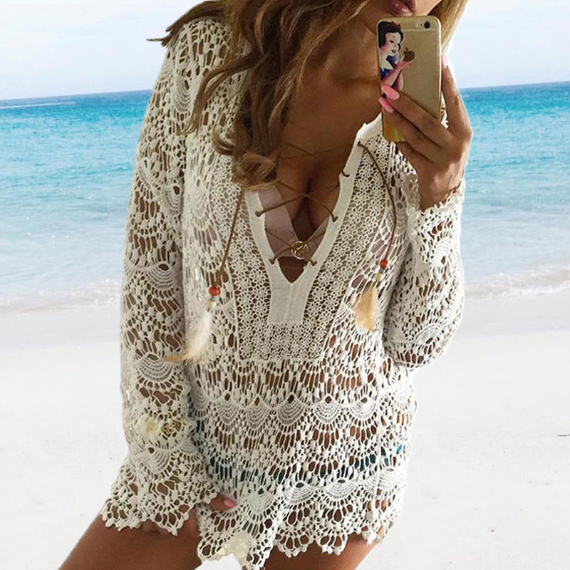 Hirigin Sexy Women Beach Dresses Women Beach Cover Up Hollow Swimwear Cover Up Women Bandage Deep V-Neck Beachwear Outwear Hot