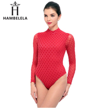 HAMBELELA Perspective Long Sleeve Black Sexy Bodysuit Women Overalls Mesh Patchwork Bodycon Jumpsuit Fashion Sexy Club Body Suit