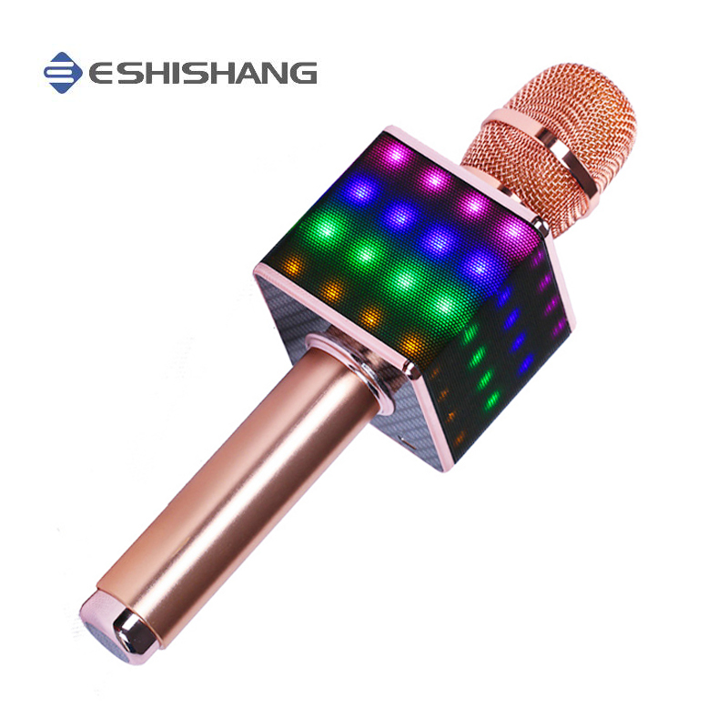 Wireless Portable Karaoke Microphone H8 with LED Light Speaker Bluetooth Machine for Smartphone Perfect Home KTV Karaoke Singing 2016 new k068 wireless microphone microfone with mic speaker condenser mini karaoke player ktv singing record for smart phones