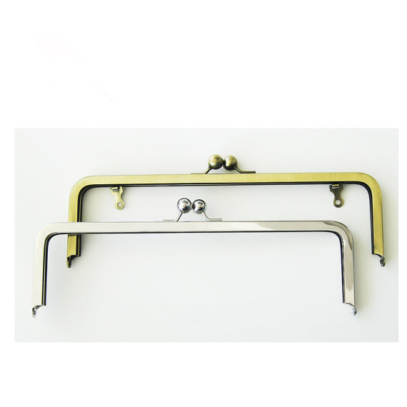 FREE Shipping - 12*4- Metal Purse Frames - Silver Or Antique Brass - with chain loops DIY Bag Handle Accessories Purse Frames