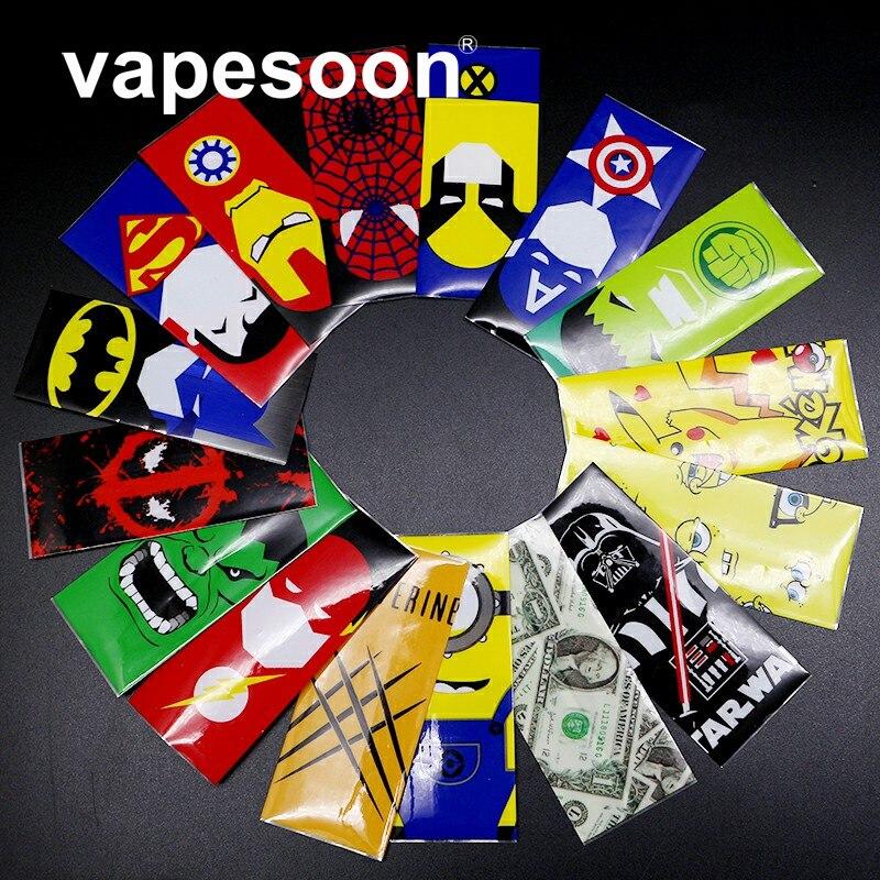 100 шт. 18650 аккумулятор оболочки vapesoon Super Hero батареи кожи наклейки для электронной сигареты батареи электронной сигареты Человек-паук Капитан…