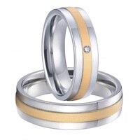 Пользовательские Свадебная пара его и ее titanium стали пары обручальные кольца комплекты новинка 2015 цвет золотистый альянсов Анель