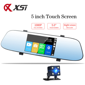 XST 5 inch Full HD 1080P Dash Cam DVR Dash Camera Rearview Mirror Touch Screen Dual Lens Video Recorder Auto Car Camera DVR