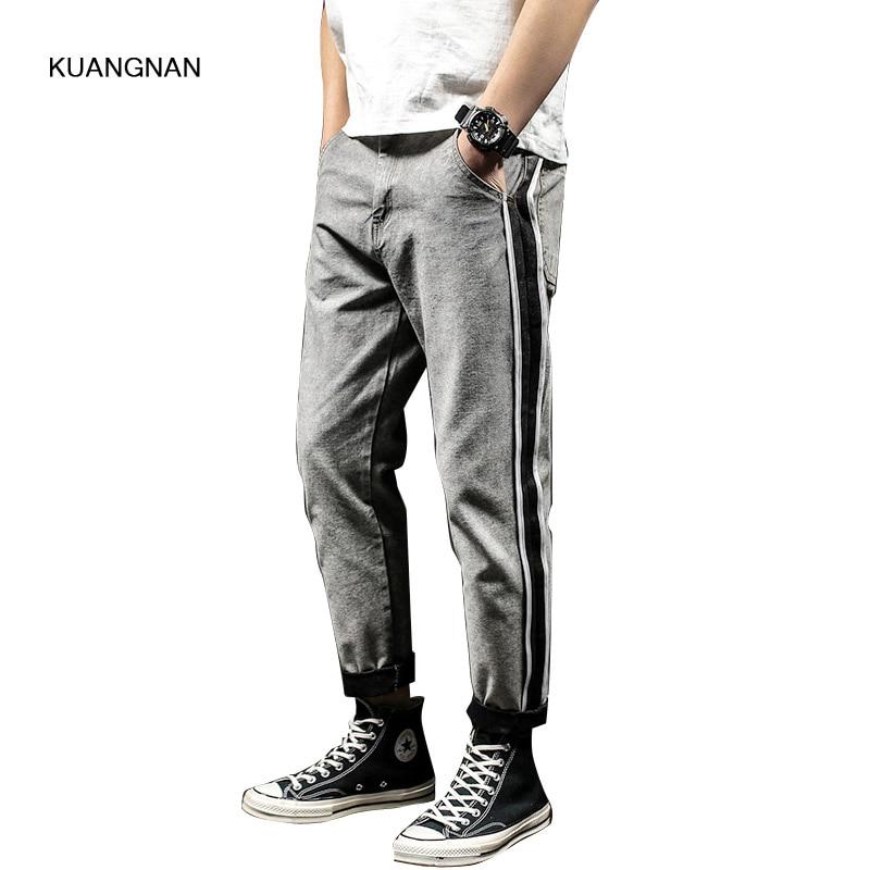 Men Cotton Jeans Fashion Casual  Loose Male Denim Harem Pant Japanese Jean Trousers Plus Size 28-40 large size 29 42 young men jeans hole patchwork denim harem pant male fashion casual denim pant trousers