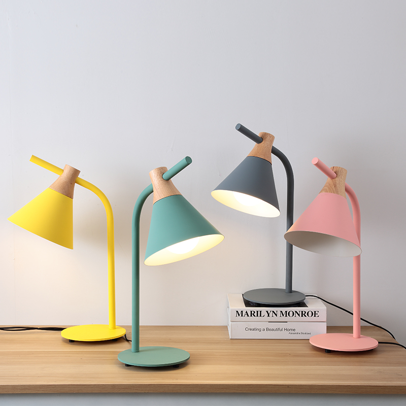 Nordic postmodern minimalist yellow green gray pink creative office desk bedroom LED desk lamp bedside reading north european style retro minimalist modern industrial wood desk lamp bedroom study desk lamp bedside lamp
