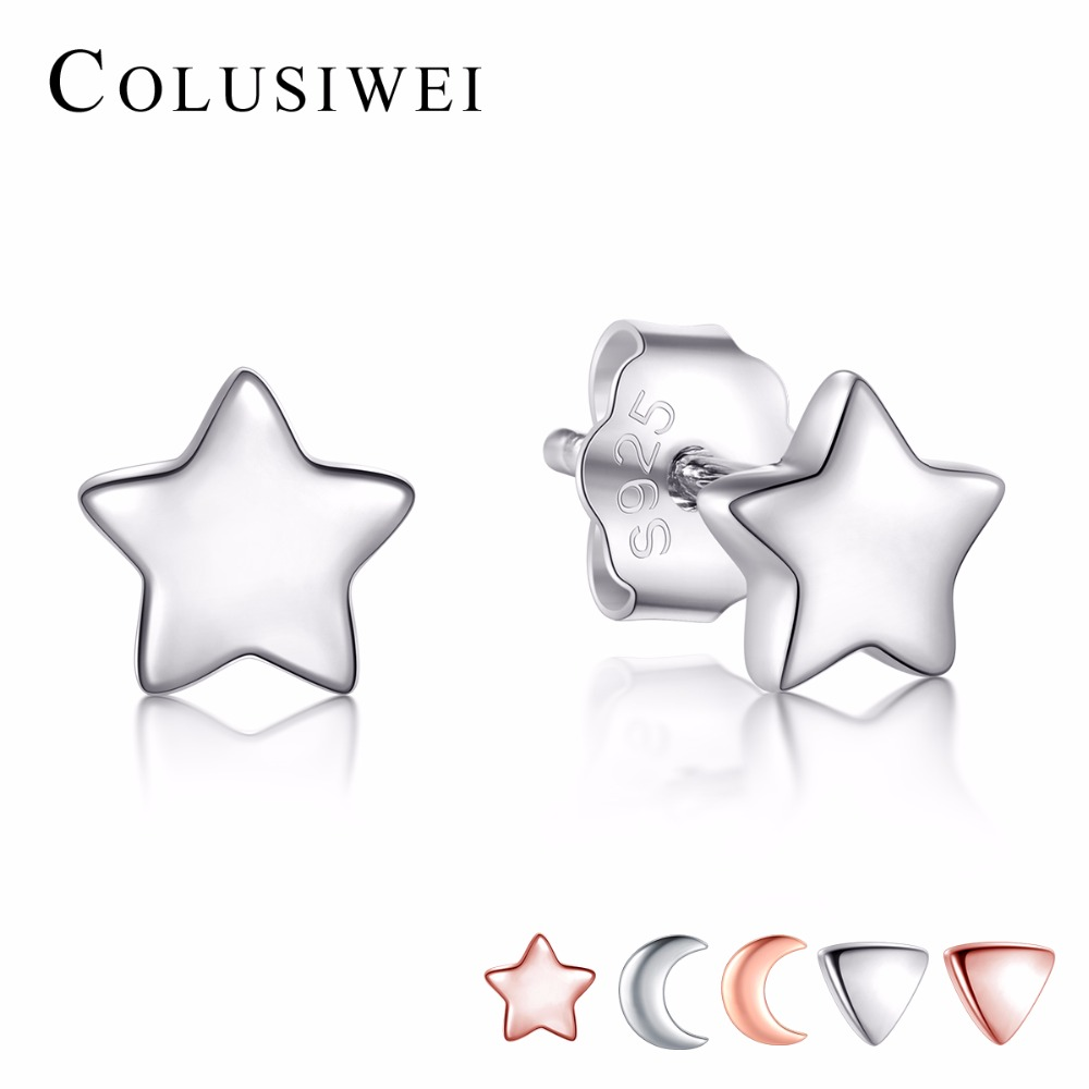 f0b51ec29 Detail Feedback Questions about 925 Sterling Silver Earrings Fashion Star &  Moon & Triangle Stud Earrings For Women Fashion Style Girl Sterling silver  ...