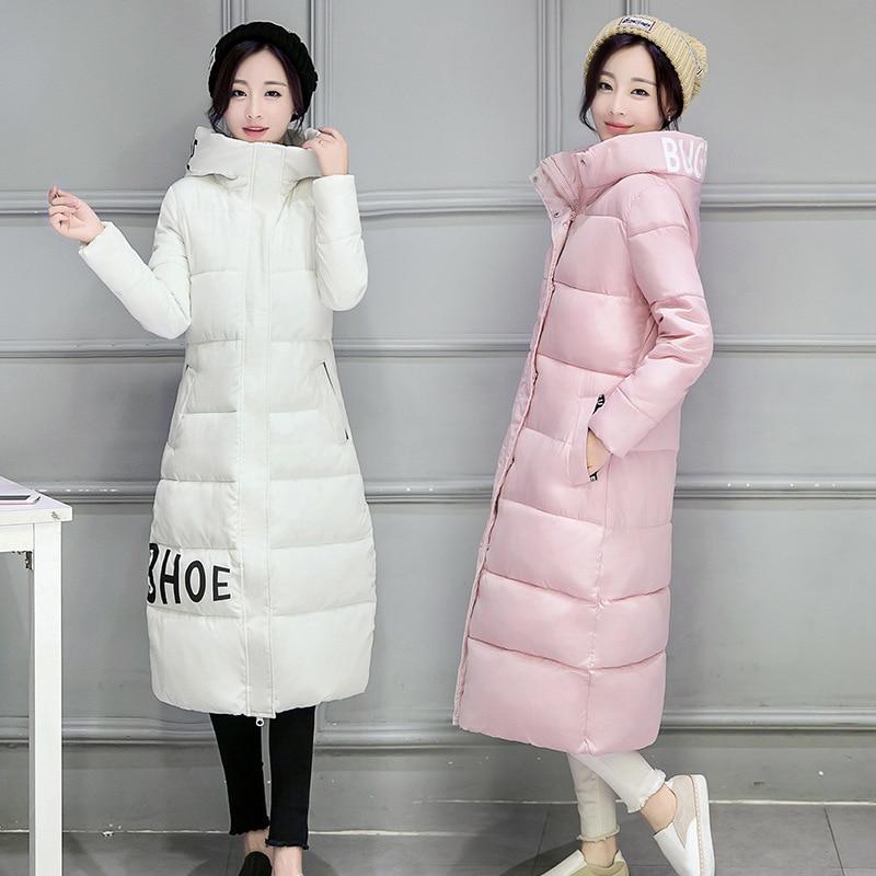 ФОТО Womens Winter Jackets And Coats Sale Solid Zipper 2016 New Winter Coat Girls Korean Fashion Long Size Hooded Down Padded Jacket