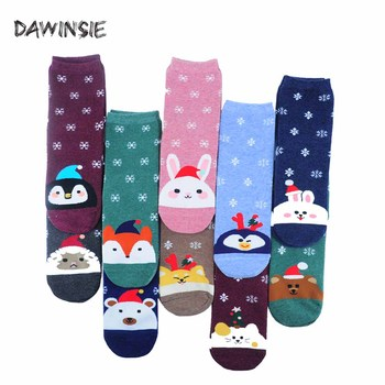 2019 Autumn Winter New Year Christmas Cartoon Pure Cotton Coloured Harajuku Women Mid Tube Happy Socks Factory Direct Sale