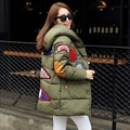 Snow Wear Wadded Jacket Female Hooded Cotton Wadded Coat Women Winter New Plus Size Loose Casual Parka Thick Coat C993