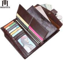 Cartera de cuero genuino para hombre, bolso de mano para teléfono móvil, organizador de tarjetas, monedero largo con cremallera, bolsa de dinero para hombre