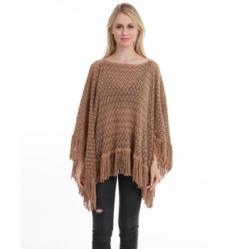 New Autumn Fashion Woman Poncho Hollow Tassel Loose Sweater For Women Pullover plus size Thin Sweater Loose Shawl 4