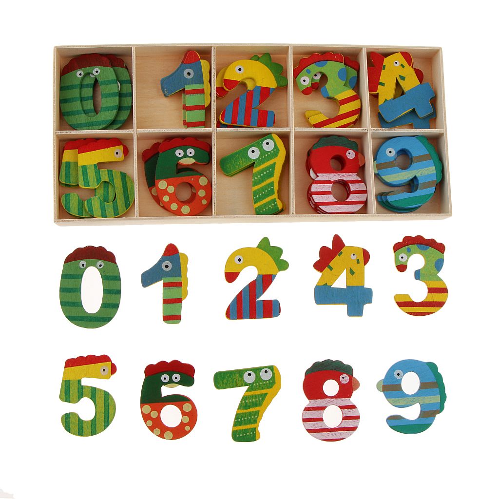 40 Pcs Wood Arabic Numbers For Baby Kids Math Toy Cute Cartoon Animal Numbers Educational Early Learning Toys With Storage Tray Puzzles Aliexpress