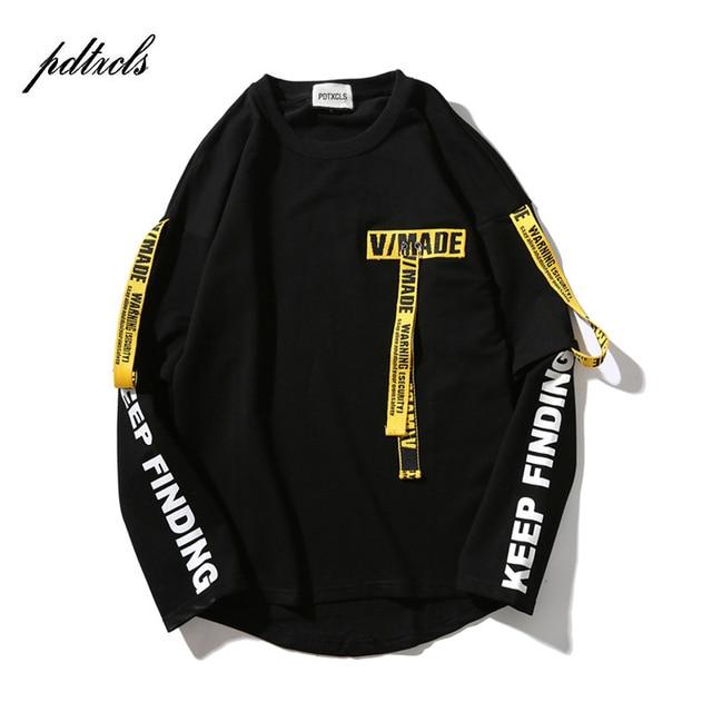 49 Горячая назад пуловер с лентой печатных Кофты для мужчин 2018 хип хоп весна повседневное мода с длинным рукавом Swag Кофты Уличная