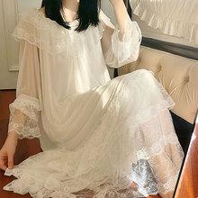 Damska Lolita biała sukienka księżniczki koszule nocne koszule nocne pałac w stylu Vintage styl wielowarstwowe koronki siatki koszule nocne koszula nocna snu piżamy tanie tanio Kobiety S-0033 Modalne Elastan COTTON UNIKIWI Wokół szyi Pełna Cotton lace Lato Połowy łydki Stałe
