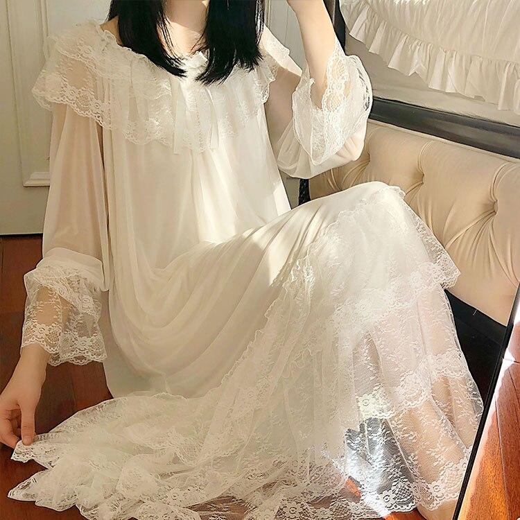 Lolita vestido de princesa branco das mulheres sleepshirts estilo palácio do vintage multi-camada renda malha camisola. camisola de dormir loungewear