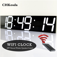 Wifi Remote Control Large Digital Wall Clock Modern Design Smart Electronic Clock Display Temperature Calendar Timer Wall Watch