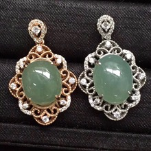 classic s925 solid silver real 925 sterling silver fine jewelry natural Myanmer Jade pendant neckalce for women