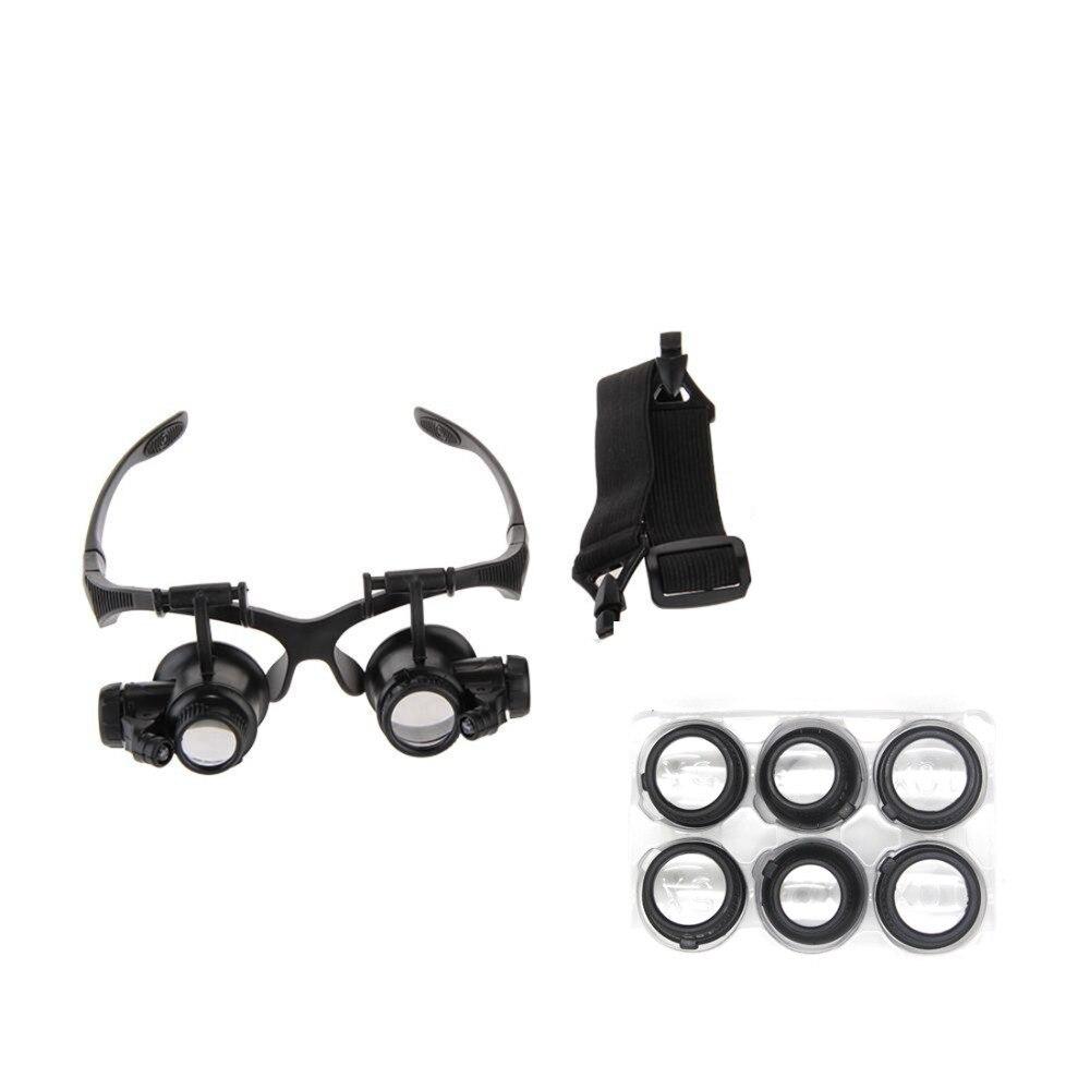Nouvelle Loupe 10X 15X 20X 25X Eye Bijoux Réparation De Montre Loupe Lunettes Avec 2 LED Lumières Nouvelle Loupe Microscope