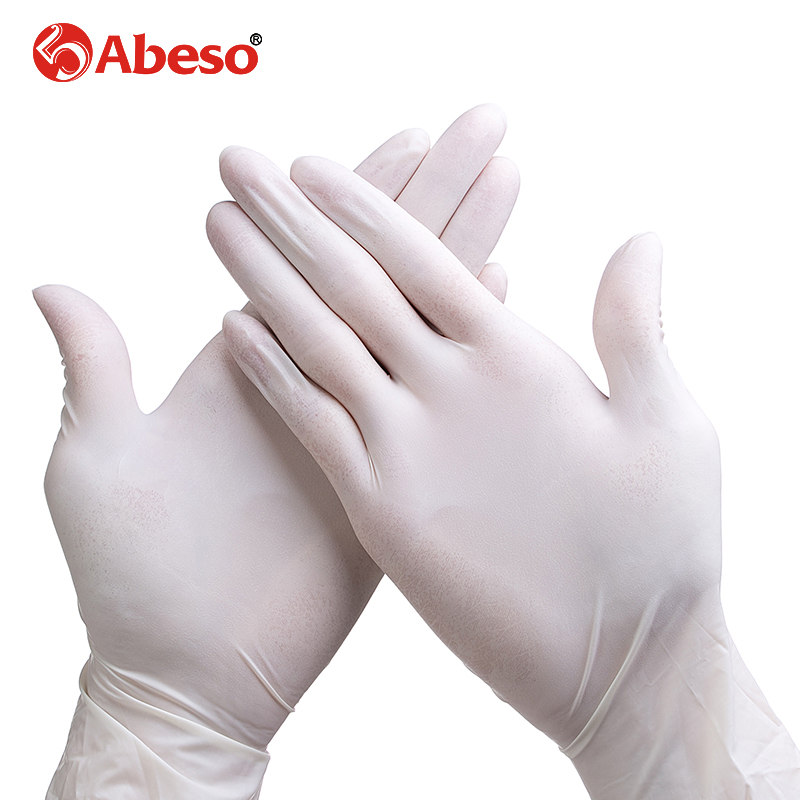 ABESO latex Electronic disposable gloves 100 pcs/ box for food home cleaning Acid Alkali resistance antiskidgolves A7104 anti acid and alkali chemical corrosion fisheries agriculture latex rubber gloves labor supplies black