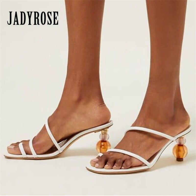 Jady Rose 2019 New Women Summer Slippers Strange High Heels Sexy Slides Women Pumps Dress Shoes