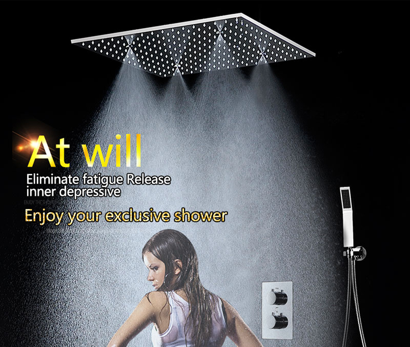 SPA Big Rain Shower Faucets Modern Shower Ceiling 20\'\' Showerheads Panel 304 Stainless Steel Shower Set & Bath Shower Mixer (1)