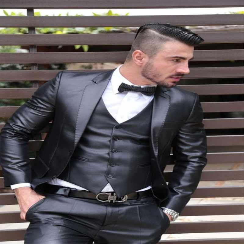 TPSAADE Latest Coat Pant Designs Grey Satin Men Suit Formal Skinny Shiny Wedding Tuxedo Prom Gentle Groom Blazer Tailor 3 Pieces