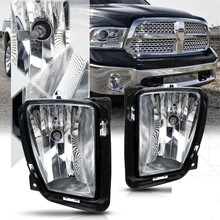 A Pair White Clear Lens Front Driving Fog Light Lamps Switch Replacement For 13-18 Ram 1500