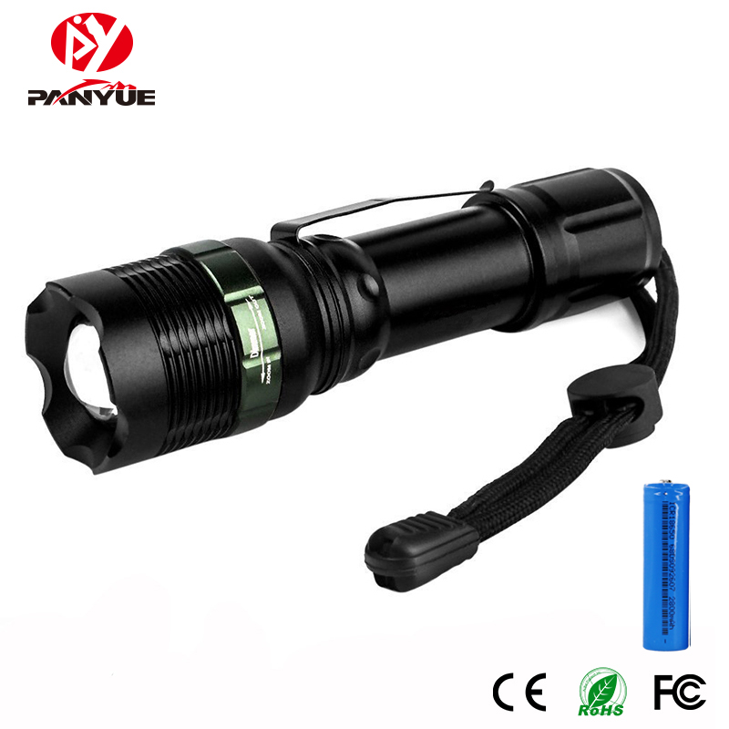 PANYUE Tactical Flashlight LED Rechargeable 1000Lm Flashlight Torch 18650 Lantern waterproof 3 Modes Camping Light