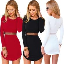 2016 ilkbahar ve yaz moda yeni hanım uzun kollu o-boyun elbise/Hanım katı renk İnce üstü diz Mini elbise