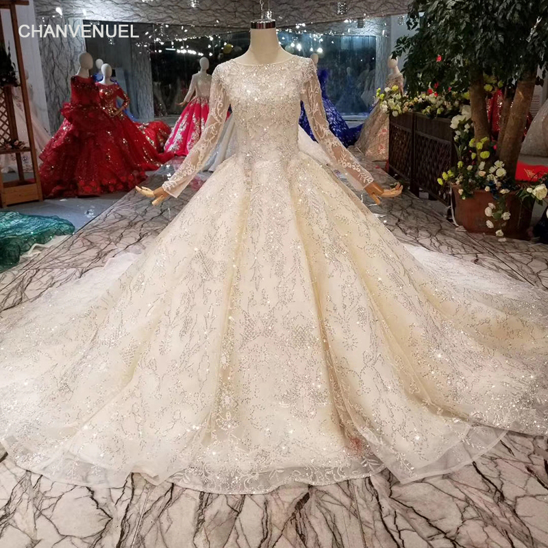 211bfb396be HTL006 golden lace wedding gown o-neck long sleeves sparkly wedding dresses  luxury champagne shiny wedding party dress 2019
