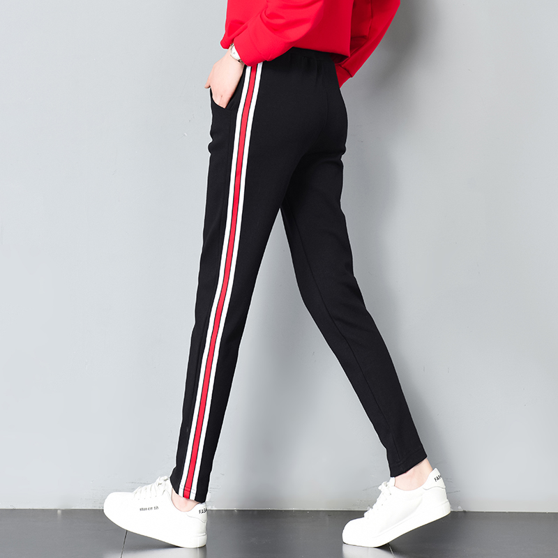 Sweatpants Women Harem Pants 2018 Casual Harajuku Side Striped Hit Color Elastic Waist Lady Trousers Pantalon Femme Streetwear