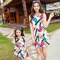 2016 Brand Summer Matching Mom And Daughter Cartoon Cotton Dress Mom Daughter Sleeveless Fashion Lovely Dress
