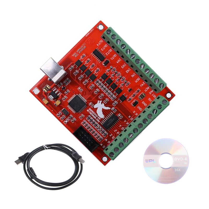USB MACH3 100Khz Breakout Board 4 Axis Interface Driver Motion Controller for cnc router freeshipping 0 to 10 vpwm spindle speed controller mach3 interface board