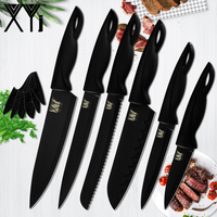 XYj Brand 6 Pcs Stainless Steel Kitchen Knives Set Whole Black Durable Sharp Kitchen Knives Plastic Handle with Knife Covers