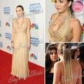 Miley Cyrus tapete Red Dress Sexy Halter com Beading A linha abrir voltar pavimento comprimento Chiffon vestidos da celebridade