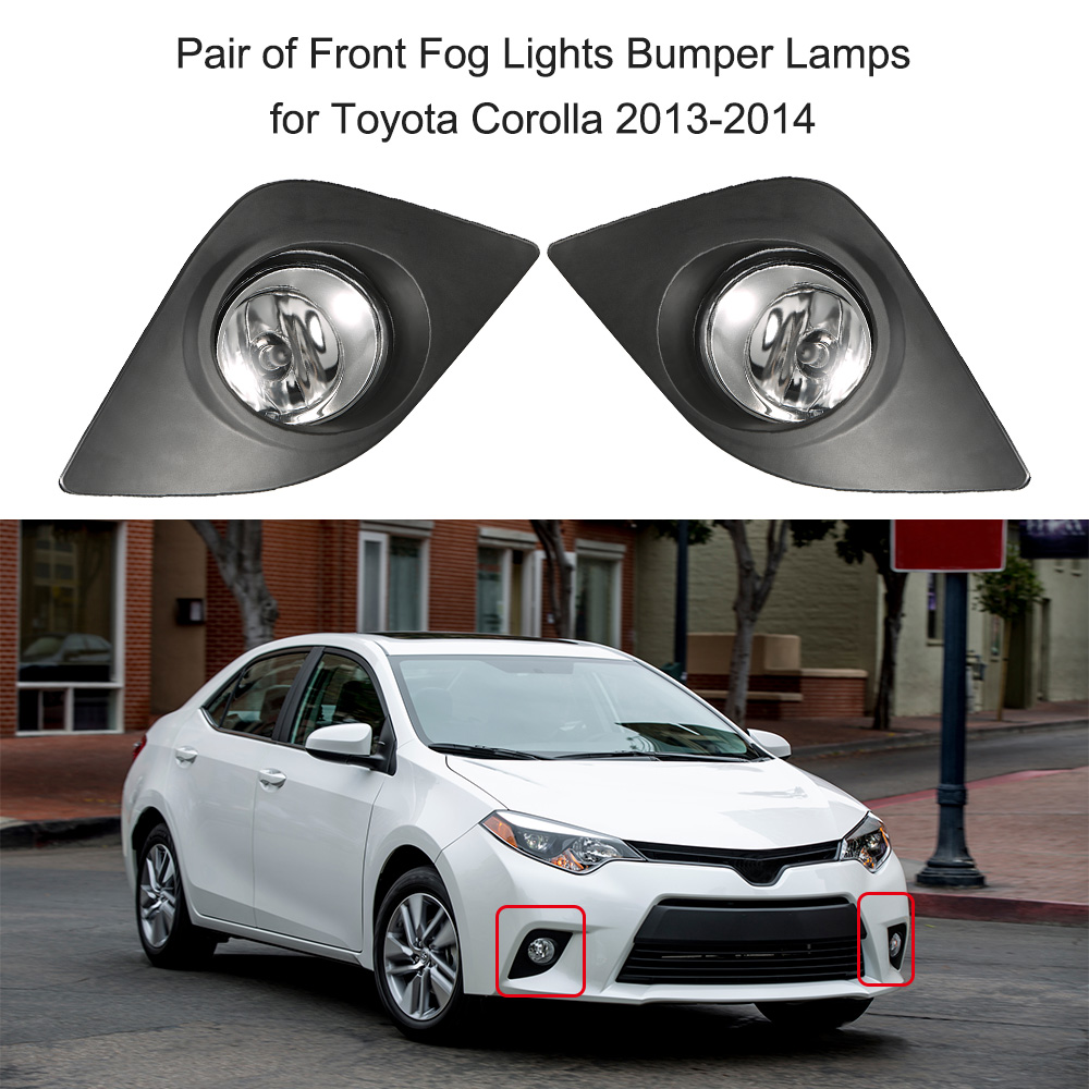 Car styling pair of 12v 55w front fog lights bumper lamps for toyota corolla 2013