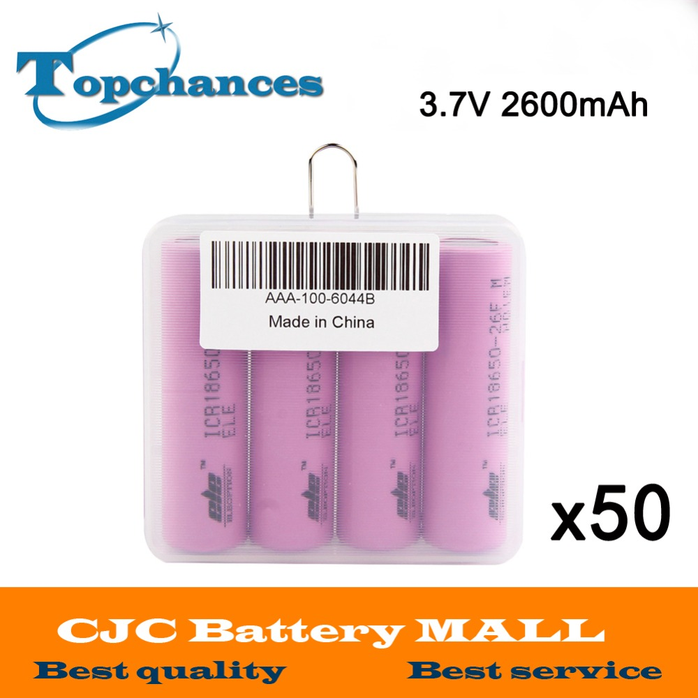 50X 4pcs/lot High Quality 3.7V 2600mAh Li-ion 18650 rechargeable li-ion Battery ICR18650-26F 2600mAh batteries Baterias with box 1pcs lot battery holder box case 3x aa 4 5v with switch