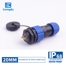Waterproof Connector SP20 Type IP68 Cable Connector Plug & Socket Male And Female 2/3/4/5/7/9/10/12/14 Pin SD20 20mm Straight