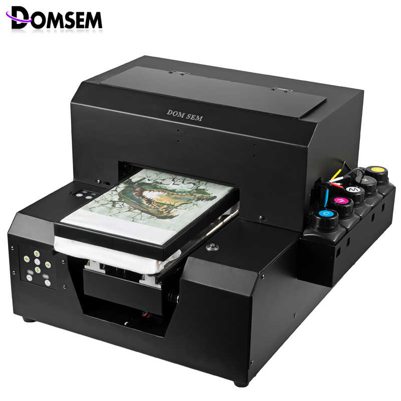 Digital Kain Pakaian T Shirt Printer UV Inkjet Kering Instan A4 Ukuran 2880 Dpi DX5 Printhead